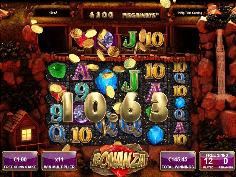 Bonanza Megaways Free spins screen