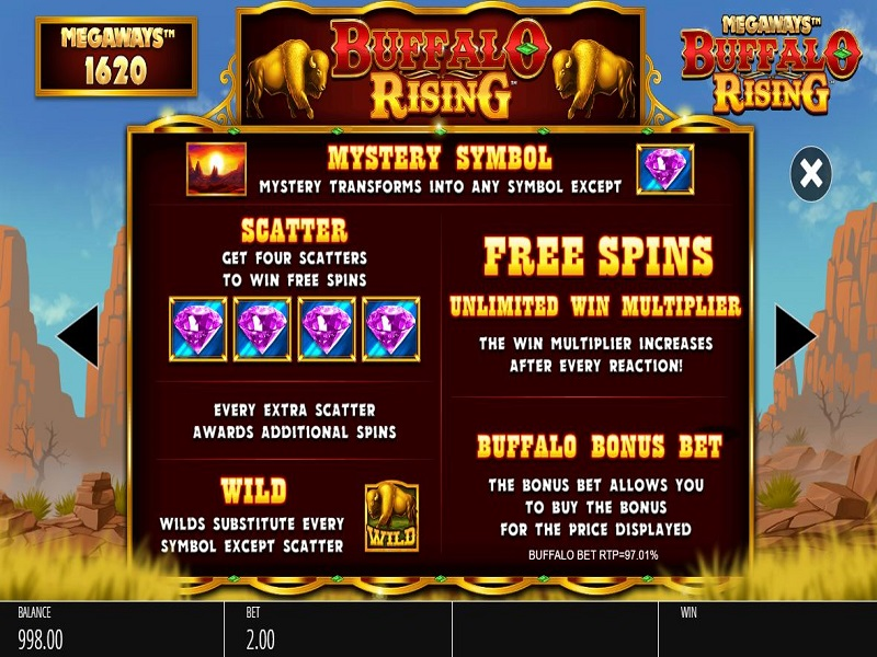 Buffalo Rising Megaways Free spins details
