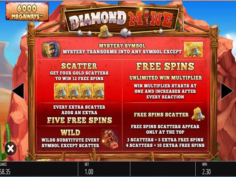Diamond Mine Megaways Free spins and Wilds info