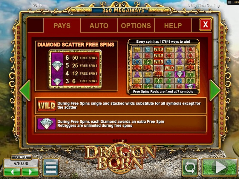 Dragon Born Megaways Free spins info