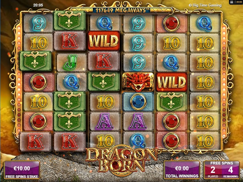 Dragon Born Megaways Free spins reels and screen