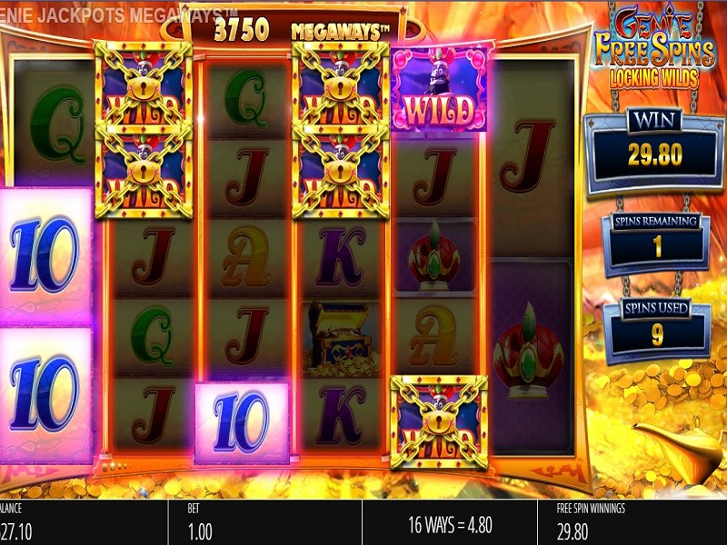 Genie Jackpots Megaways Locking Wilds spins grid