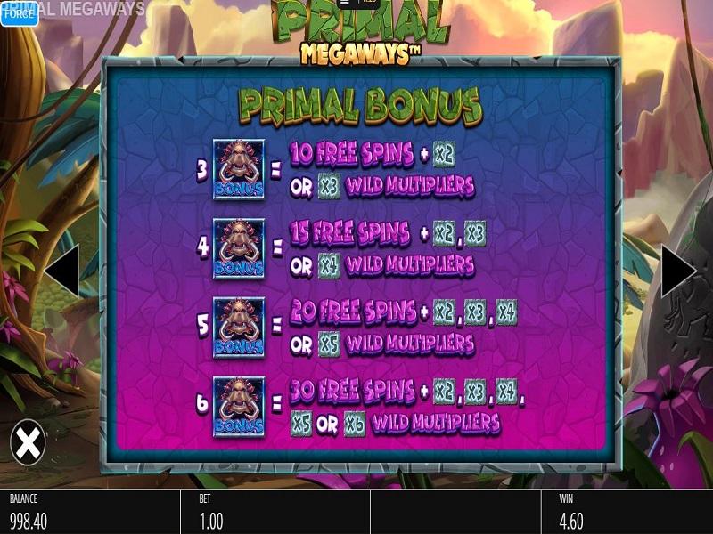 Primal Megaways Free spins info