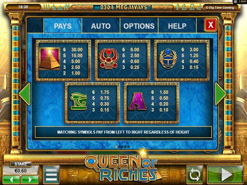 Queen of Riches Megaways High symbols pay table