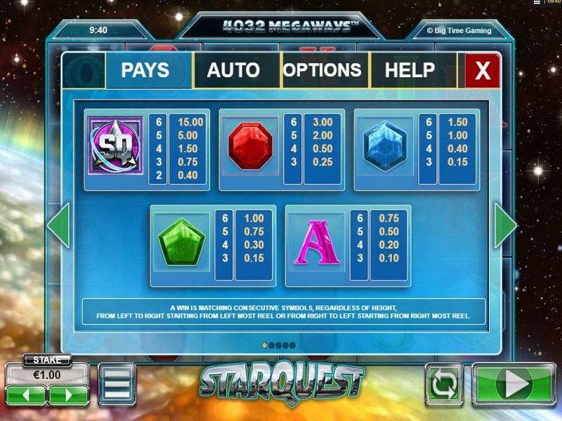 Starquest Megaways High symbols pay table