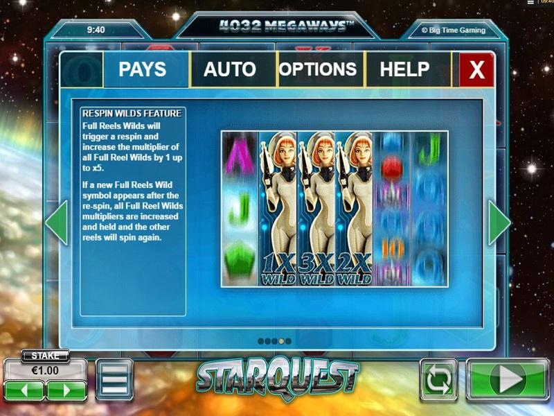 Starquest Megaways Wild reels info