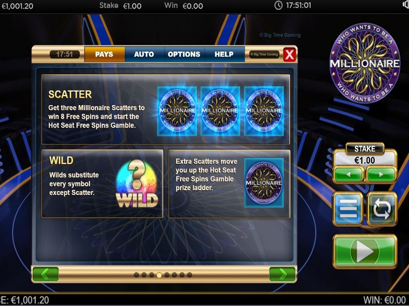 Who Wants To Be A Millionaire Megaways Scatters guide