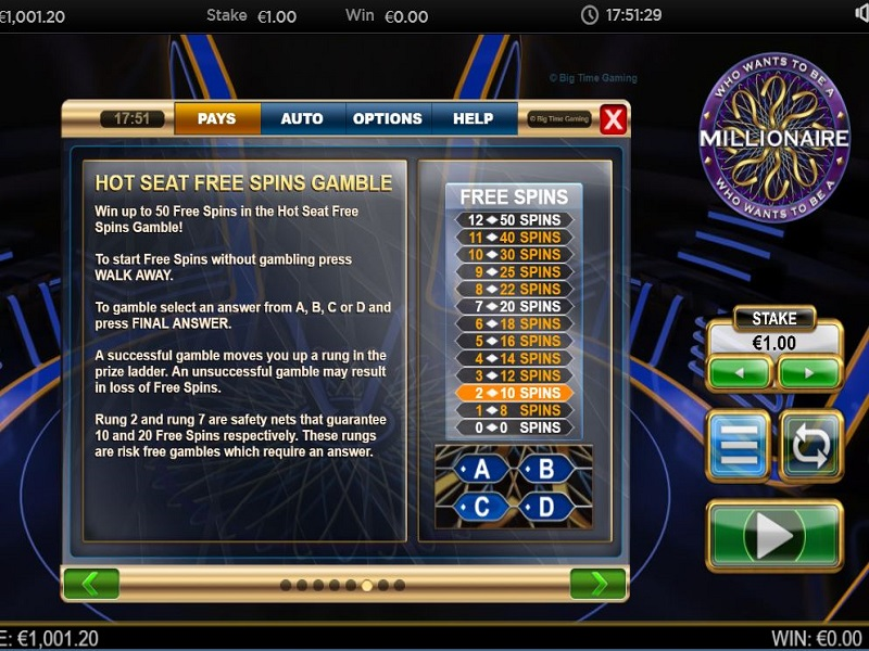 Who Wants To Be A Millionaire Megaways Feature Gamble ladder