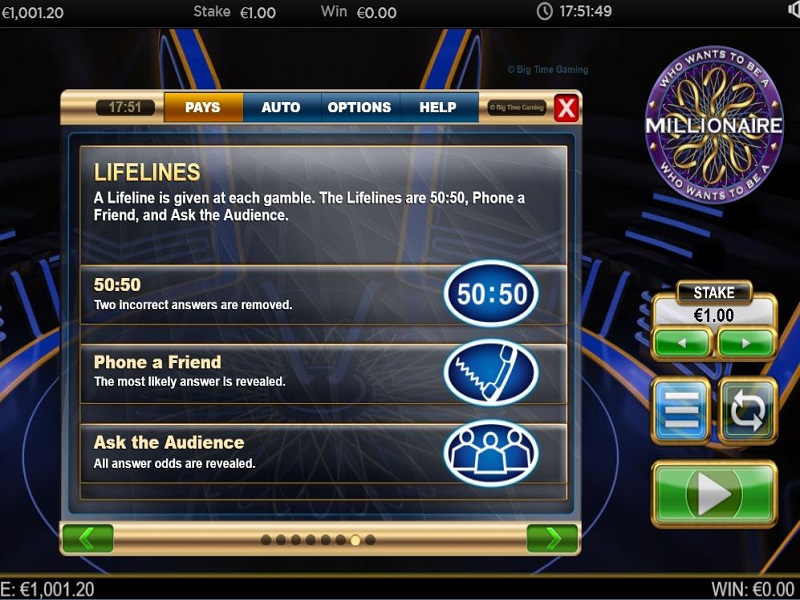 Who Wants To Be A Millionaire Megaways Gamble lifeline illustration