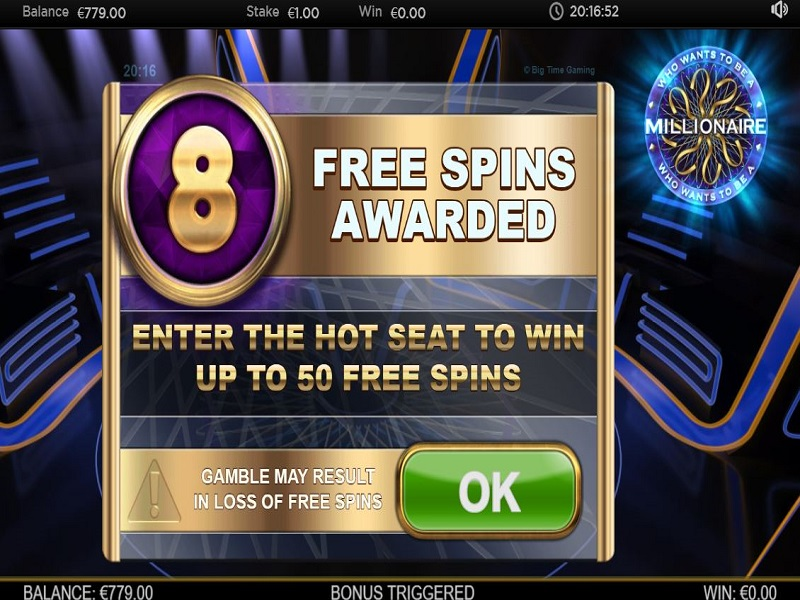 Who Wants To Be A Millionaire Megaways Free spins trigger