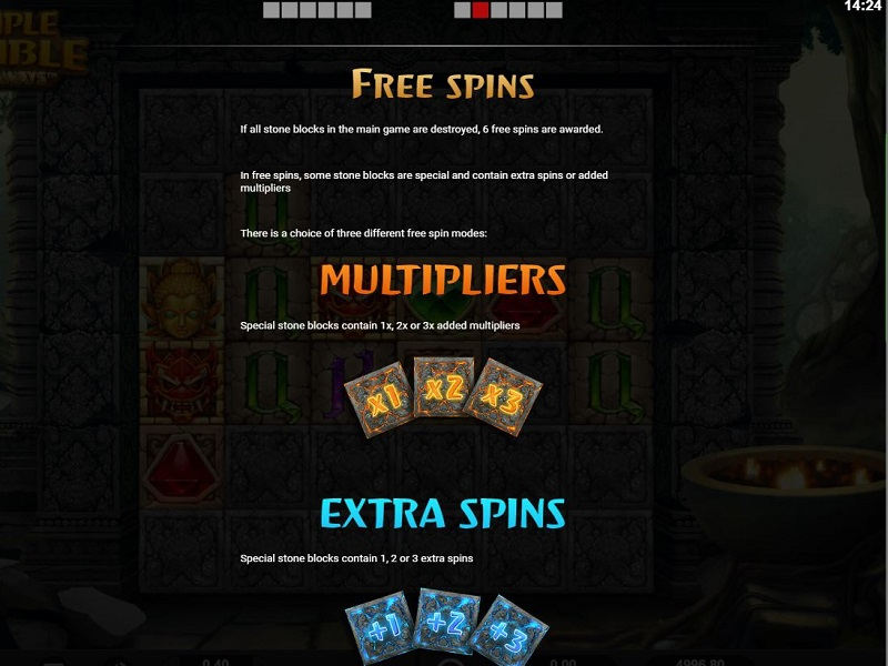 Temple Tumble Free spins info